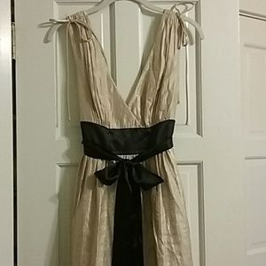 Champagne cocktail dress with black sash